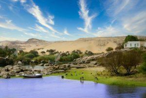 Falucas a orillas del río Nilo