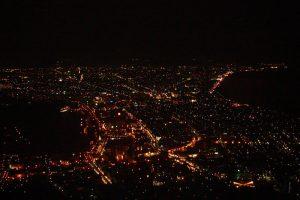 Vista nocturna desde el Monte Hakodate