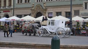 Calesa de caballos recorriendo las calles de Cracovia