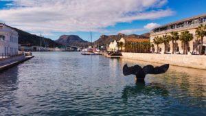 Cola de ballena en el puerto de Cartagena