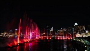 Espectáculo nocturno en Marina Bay