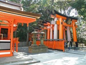Primeros torii del santuario Fushimi Inari Taisha