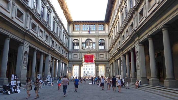 Galería de los Uffizi, el museo de arte más importante de Florencia.
