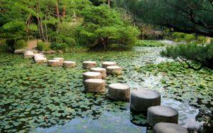 Estanque en los jardines de Heian Jingu
