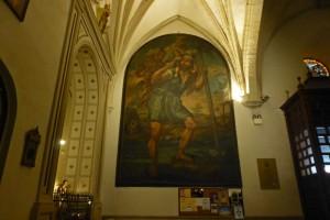 Lienzo que decora una de las paredes de la Basílica de San Ildefonso en Jaén