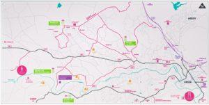 Mapa de la ruta en coche por la floración de Cieza