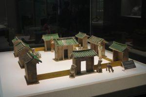 Representación de un templo de la dinastía Tang en el Museo de Historia de Shaanxi