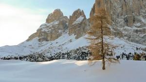 Paisaje cubierto de nieve en las Dolomitas