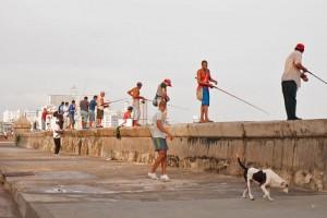Grupo de pescadores en el Malecón de La Habana