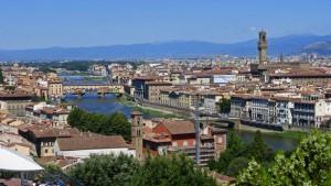Vista diurna de Florencia desde la Plaza Michelangelo, plazas de Florencia