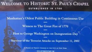 Cartel explicativo en la Capilla de St. Paul