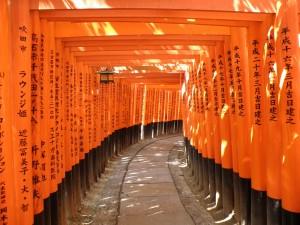 Pasillo que recorre Sayuri en Memorias de una Geisha en el Fushimi Inari Taisha