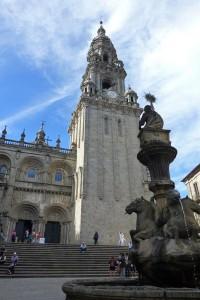 Fachada de las Platerías y Torre del Reloj de la Catedral de Santiago de Compostela