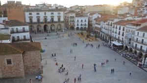 Vistas de la Plaza Mayor de Cáceres desde la Torre Bujaco