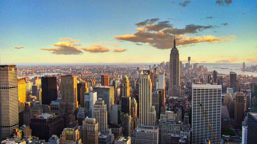 Vistas de Nueva York al atardecer