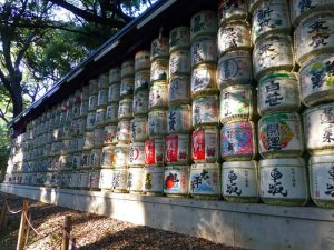 Barriles de sake donados al Templo Meiji Jingu