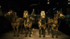 Carro de bronce en el Museo de los Guerreros de Terracota de Xian