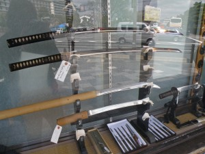 Tienda de katanas en Kioto, qué comprar en Kioto, souvenirs de Kioto, recuerdos de Kioto