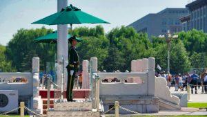 Puesto policial en la Plaza de Tiananmen