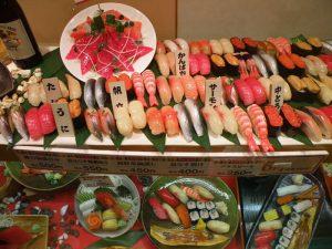 Réplicas de cera de un restaurante de sushi en Tokio